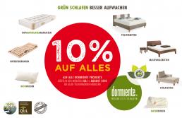 10% auf alle Produkte von dormiente! Beim Schlafzimmer und Bettenhaus Körner in Nürnberg